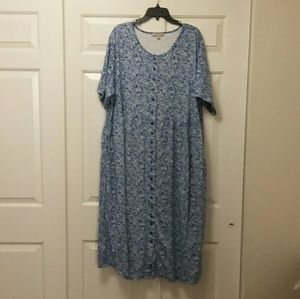 Woman Within Blue & White Floral Dress Size 26/28
